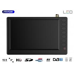 Telewizor przenośny 5 cali LED tuner DVB-T/T2 wbudowany akumulator PVR USB 12V 230V