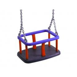 Huśtawka kubełkowa z łańcuchami metalowa wandaloodporna pokryta gumą na place zabaw EN1176