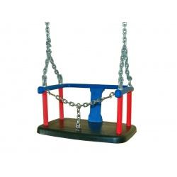 Huśtawka kubełkowa z łancuszkiem metalowa wandaloodporna pokryta gumą na place zabaw EN1176