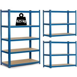 Regał magazynowy 150 x 75 x 30 cm obciążenie do 625 kg 5 półek metalowy niebieski