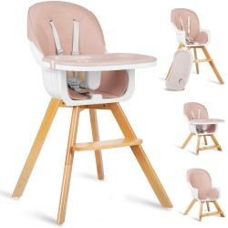 Krzesełko do karmienia dla dziecka Lilo 3w1 fotelik do pokoju drewniane nóżki