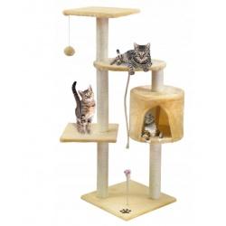 Drapak drzewko dla kota z domkiem 110 cm 2 kolory szare lub beżowy