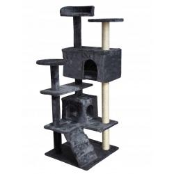 Drapak dla kota 120 cm dwa domki platformy legowisko szary lub beżowy