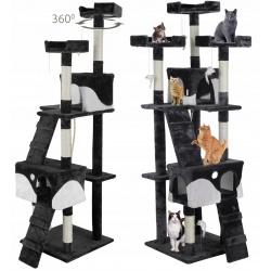 Domek legowisko drapak dla kota wysokość 170 cm beżowy szary czarny