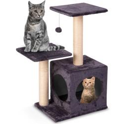 Mały drapak domek dla kota 74 cm tunel i zabawka brązowy szary beżowy