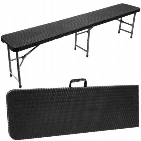 Rozkładana ławka ogrodowa cateringowa bankietowa 180 cm Technorattan czarna