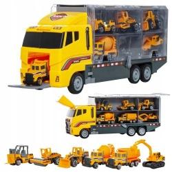 Ciężarówka TIR 6 maszyn budowlanych koparka spychacz walec drogowy