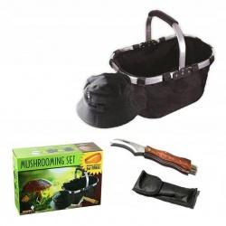 Zestaw grzybiarza nóż koszyk czapka opaska na komary do zbierania grzybów