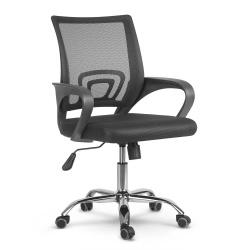 Fotel biurowy obrotowy krzesło oddychające oparcie z mikrosiatki czarne