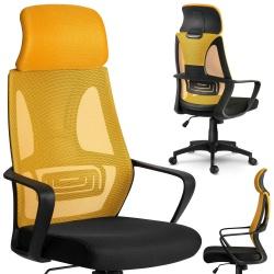 Fotel z mikrosiatki z regulowanym zagłówkiem czarny szary żółty niebieski