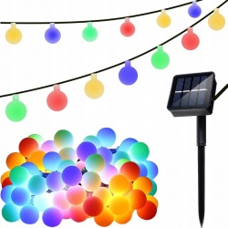 Girlanda solarna ogrodowa 7m 2V IP65 świecące kule Lampki wiszące LED multikolor