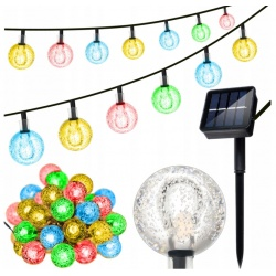 Solarne lampki ogrodowa girlanda wiszące LED multikolor 30 kulek 8 trybów