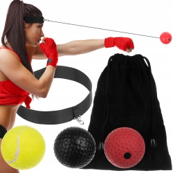 Piłka do ćwiczeń refleksu refleksowa bokserska zestaw zakładana na głowę