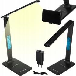 Lampka biurkowa LED ze stacją pogodową czarna przełącznik dotykowy