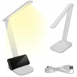 Lampka biurkowa LED szkolna biała ze stojakiem na telefon 3 barwy światła