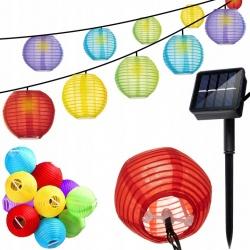 Solarne lampki ogrodowa girlanda 3m 2V IP44 wiszące lampiony 10 LED kolorowe