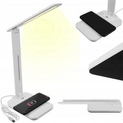 Lampka biurkowa LED z ładowarką indukcyjną QI gniazdo USB 3 tryby oświetlenia