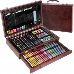 Zestaw do malowania rysowania walizka z szufladą kredki farby 142 elementy