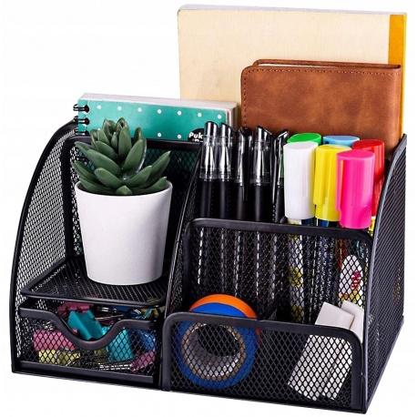 Przybornik na biurko 6 komór czarny organizer na długopisy artykuły biurowe