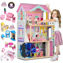 Różowy drewniany domek dla lalek duży 3-piętrowy meble taras winda lampka LED