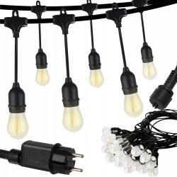 Girlanda ogrodowa wisząca 10m 24V IP44 lampki ogrodowe żarówki zewnętrzne 20 sztuk