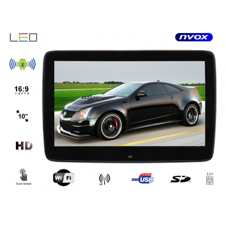 Monitor samochodowy zagłówkowy LED 10 cali TOUCH HD z systemem ANDROID USB SD FM BT WIFI