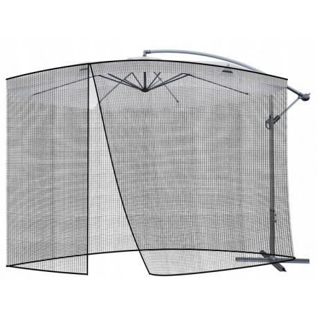 Moskitiera do parasola ogrodowego średnica 3 metry czarna wejście na zamek