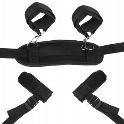 Kajdanki erotyczne z podpórką uprząż do różnych pozycji BDSM czarne