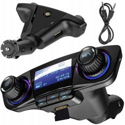 Samochodowy zestaw głośnomówiący transmiter FM z Bluetooth 5.0 ładowarka USB