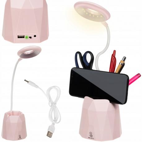 Lampka biurkowa LED organizer szkolna na przybory biurko stojak 4w1