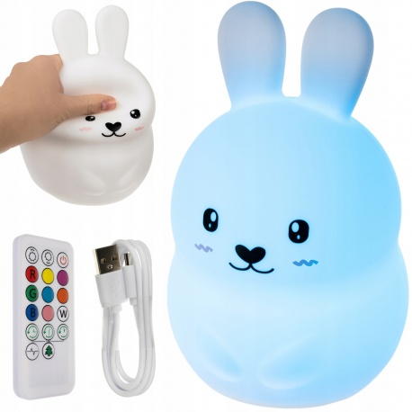 Lampka nocna LED nietłukąca się królik dla dzieci z silikonu pilot akumulator