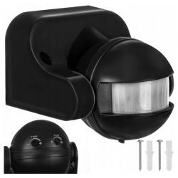 Czujnik ruchu i zmierzchu ścienny LED PIR czarny wodoodporny uniwersalny