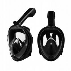 Maska do snorkowania nurkowania składana pełnotwarzowa L/XL czarna