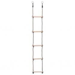 Drabinka sznurowa 5 stopniowa długość 195 cm drewniane szczeble dwie liny