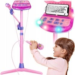 Mikrofon na statywie stojaku dla dzieci do śpiewania KARAOKE MP3 głośniki stacja