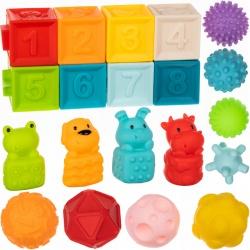 Miękkie klocki sensoryczne dla dzieci kolorowe kształty piłeczki 20 klocków