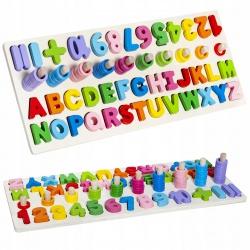 Drewniany alfabet podstawa kolorowe klocki do układania literki cyfry sorter