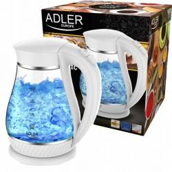 Czajnik szklany 1,7L bezprzewodowy Adler AD 1274 czarny biały 220W podświetlenie LED
