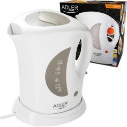 Elektryczny czajnik plastikowy biały1,0 L Adler AD 03 bezprzewodowy