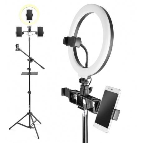 Lampa pierścieniowa stojak na 3 smartfony mikrofon oświetlenie twarzy statyw 185cm