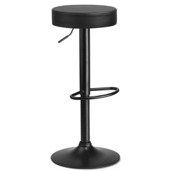 Okrągły hoker stołek barowy z podnóżkiem na czarnej nodze biały lub czarny