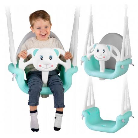 Huśtawka kubełkowa bezpieczna 3w1 dla małych dzieci Miś od 6 miesięcy do 7 lat
