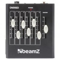 Mobilny sterownik oświetlenia kontroler 6 kanałów DMX z suwakami BeamZ DMX60