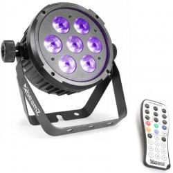 Reflektor płaski LED FLAT PAR RGBAW światło UV BeamZ BT280 7x10W 6w1 pilot