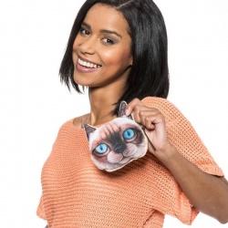 Saszetka na drobiazgi portfelik efekt 3D kotek z niebieskimi oczami