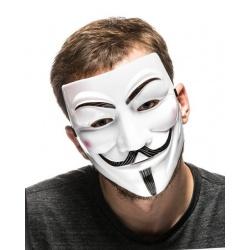 Maska V jak Vendetta Anonymous Guy Fawkes biała rozmiar na głowę dorosłej osoby
