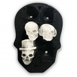 Foremka na lód i czekoladę zamykana forma czachy 6 sztuk czaszki z lejkiem