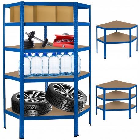 Metalowy regał magazynowy narożny 180 x 90 x 40 cm do 875 kg 5 półek niebieski