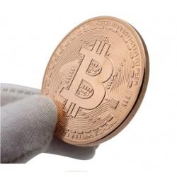 Bitcoin kryptowaluta BTC w kapslu moneta kolekcjonerska 4cm średnicy
