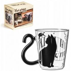 Kocia szklanka kubek z ogonem czarny kot dla kociary opakowanie na prezent